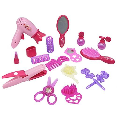 blueship 19 unids/17 unids chica accesorios casa juegos juguetes de peluquería juguetes simulación simulación juego niños regalo secador de pelo peine modelo juguete para regalo estilo aleatorio