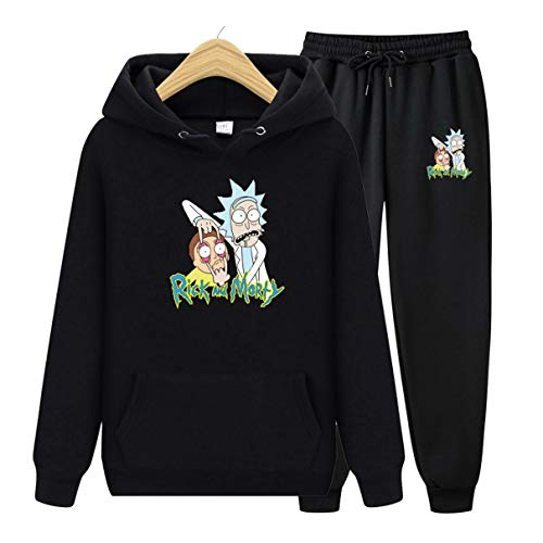 Two Piece Set Women/Men Rick and Morty Hoodies+Long Pants Casual Hooded Sweatshirt Clothes