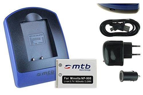 Baterìa + Cargador (USB/Coche/Corriente) para NP-900, LI-80B / Konica Minolta/Medion/Olympus/Rollei/Traveler. - Siehe Kompatibilitätsliste!