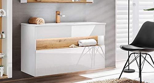 Jadella dubbele wastafel 'Rio White 120' wastafelmeubel 120 cm eiken hoogglans wit met LED-verlichting