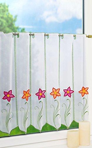 LYSEL Scheibengardine Blume mit Knopf (Bx H) 160cm * 60cm rot/Mehrfarbig