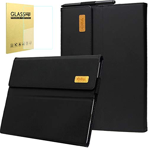 CoBak Case Surface Pro 7 - Fits Keyboard and Kickstand, Premium PU Leather Cover with 1 Screen Protector for New Surface Pro 7 2019 Released, Matte Black.