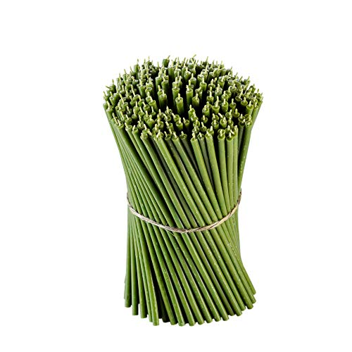 Danilovo Ritual Bienenwachs Kerzen (Grün) - Orthodoxe Kerzen für Gebet Tischdeko Hochzeit - Ungiftig, Ruß - Tropffrei, Lang, Nachhaltige Produkte, N40, Höhe: 26,5 cm, Ø 7,15 mm (25 stück - 250 g)