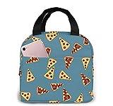 Bolsa de almuerzo para porciones de pizza para mujeres y hombres, bolsa de almuerzo reutilizable, organizador, bolsa refrigeradora con bolsillo frontal para picnic de viaje de trabajo