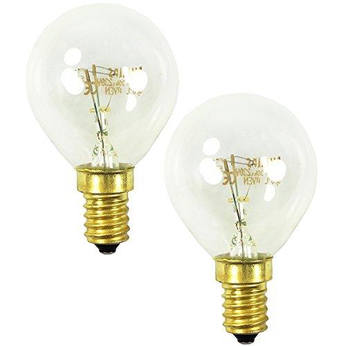 COM-FOUR® 2x lámpara de horno hasta 300° C, bombilla de luz de estufa blanca cálida 40W, E14, P45, 230V (02 piezas - 40W dorado)