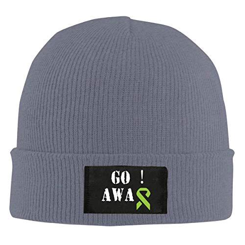 Asiluna Go Away Lime Green Awareness Ribbon Non-Hodgkin Lymphoma Cancer Knit Beanie Skull Cap