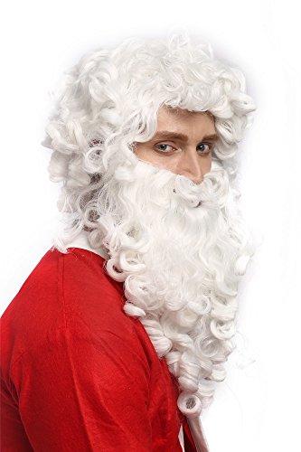 WIG ME UP - 01-A+B-P60 Perücke Bart Set Weihnachtsmann Santa Claus Nikolaus Ruprecht Prophet Gott Weiß