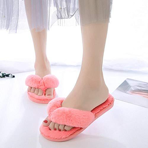 ENLAZY Winter Plüsch mit dickem Boden Furry Faux Fur Flip-Flops zu Hause Baumwollhausschuhe Open Toe Hausschuhe für Mädchen Frauen, Wassermelone rot, 38-39