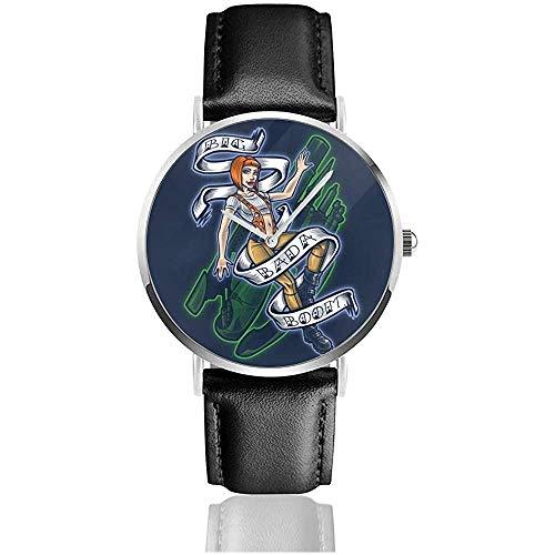 Big Badaboom Fifth Elemant Uhren Quarz Lederuhr mit schwarzem Lederband für Sammlungsgeschenk