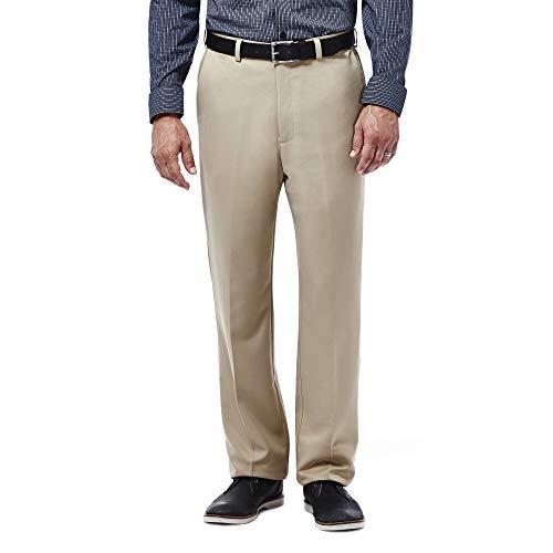 Haggar Men's Cool 18 Hidden Expandable-Waist Plain-Front Pant British Khaki 38x29