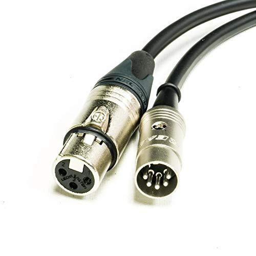 MIDI over XLR Adapter kabel. Vrouwelijke XLR tot 5 Pin DIN. Neutrik & Van Damme 9m Zwart