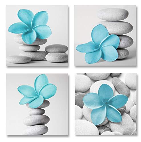 Genius Decor-Modern Bathroom Wall Art Blue Grey Zen Flowers and Pebble Stone Aqua Bedroom Canvas Art for Decoration (Blue)