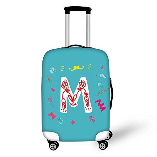 ThiKin スーツケースカバー キャリーカバー 伸縮素材 防水 ラゲッジカバー 目立つ かわいい 英字 字母 A キュート 旅行 保護 汚れ 傷 防止 luggage suitcase cover サイズ S M L