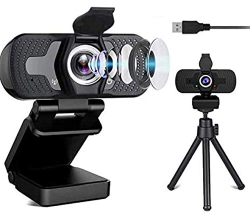 Sherry High Resolution Camera for Computers, Dual Microphone Camera with Tripod&Privacy Cover, 1080p Computer Camera, Plug&Play Driver Free USB Camera