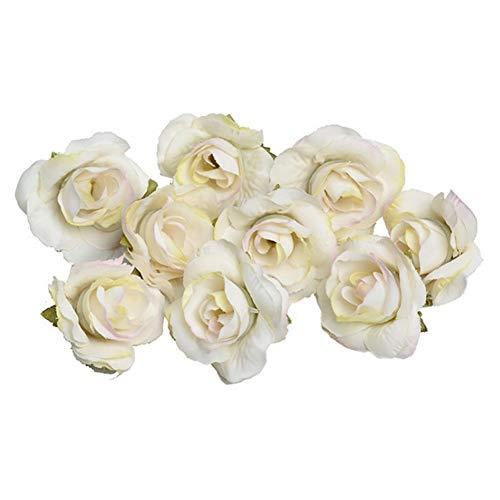 Flores de seda rosas brote blanco lechoso flores artificiales rosas de aspecto real para ramos de bricolaje boda centros de mesa arreglos mini capullos de rosa decoración del hogar jardín
