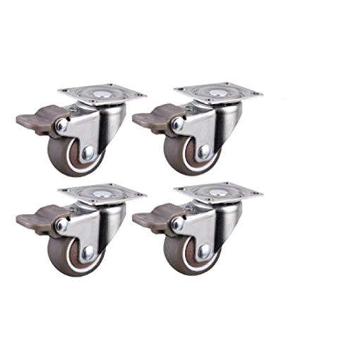 BECCYYLY Hjul 4st Möbler Hjul Hjul Mjukt Gummi Svänghjul Silver Rullhjul För Plattform Vagnstol