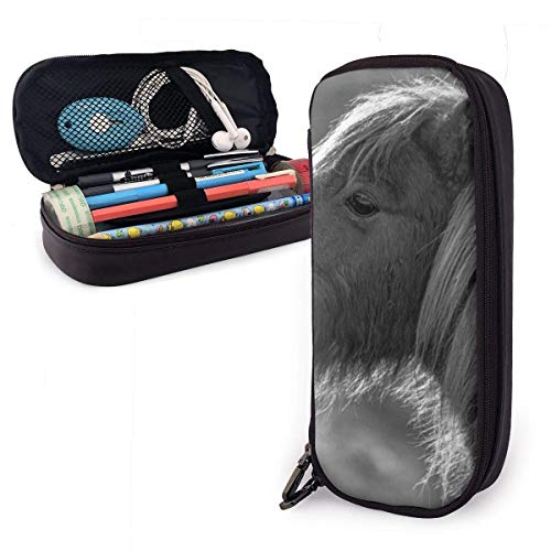 Grayscale Horse PU Leather Pencil Case,Durable Students Stationery Organizers with Double Zipper for School Office 1.5inx3.5x8 in