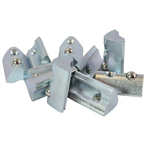 100x Nutenstein 6 St M5 Nut 6 - Typ I - M5 mit Steg, Federkugel, Stahl verzinkt