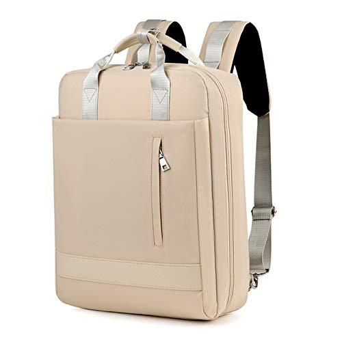WPJMEFU Mochila Portatil 15.6 Pulgadas, Mochila Portatil Mujer Impermeable con Interfaz USB, Adecuado para Viajes de Ocio, Estudio, Trabajo(Beige)