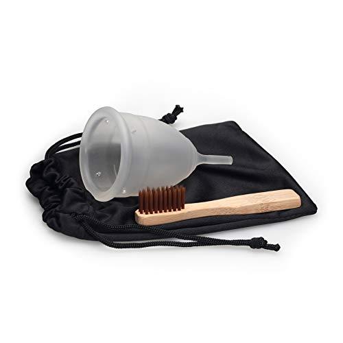 SpaceToy Menstruationstasse aus hochwertigem medizinischen Silikon für normale oder starke Blutung, BPA FREI, Menstruationskappe inkl. Reinigungsbürste & Beutel, Größe: L, Farbe: Transparent