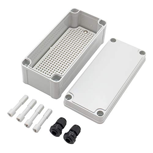 "MAKERELE Waterproof Electrical Box Outdoor Junction 7.08""3.15""2.76"" (1808070mm) Outdoor Watertight DIY Electronics Enclosure with 2 NPT 1 4"" Glands"