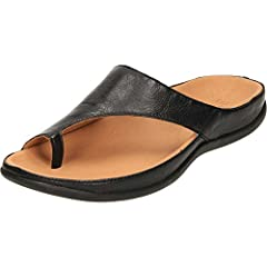 Your feet will truly feel comfortable and supported in these slip on thong sandals Leather uppers with microfiber linings Contoured orthotic with Biomechanical Footbed Technology Rubber outsoles with traction pattern design