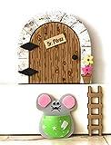 Puerta ratoncito Pérez MADERA NATURAL + escalera + ratón guardadientes.