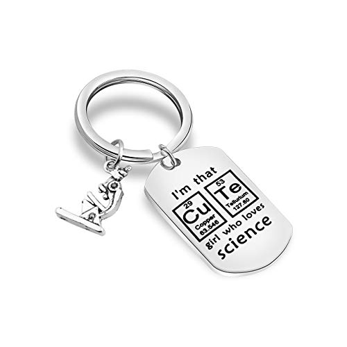 FUTOP Scientist Keychain I'm That Girl Who Loves Science Keychain Science Graduation Gift Biology Student, Teacher Gift (Science-g Keychain)