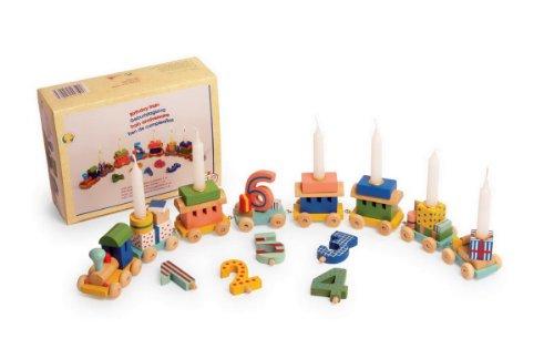 Lustiger Geburtstagszug Lok und Waggon mit Geschenken aufsteckbaren Zahlen