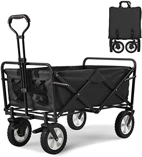 TAMPOR Carro plegable con frenos, carro de transporte plegable, incluye 2 bolsillos de red, carro de transporte para jardín, remolque sin techo, giratorio 360°, soporta hasta 80 kg, color negro