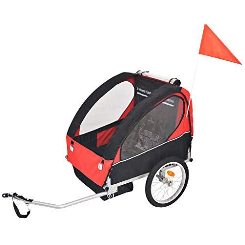 SOULONG Remolque de Bicicleta para niños Rojo y Negro 30 kg,Es Adecuado para 1 a 2 niños,137 x 77 x 87 cm