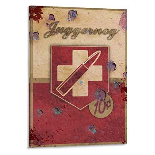 KONGQTE Vintage Juggernog Perk Leinwanddruck Malerei Poster Wandkunst für Wohnzimmer Schlafzimmer Dekor-50x70cm ohne Rahmen