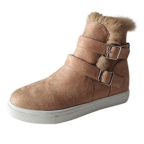 QIUTIANQ Zapatos De Mujer De Felpa Cálida con Hebilla De Gamuza Zapatos Casuales De Caña Alta con Hebilla De Tacón Plano Y Punta Redonda Antideslizante Cómodo Respirable (Caqui, 38)