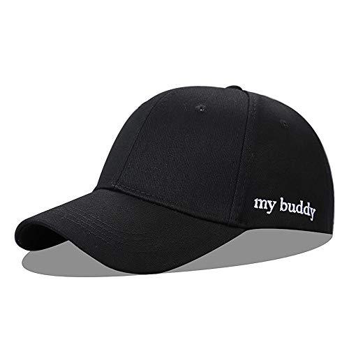 Loe Sombrero femenino cómodo y transpirable Negro Gorra de béisbol al aire libre Bordado con cúpula Sombrero para el sol Color sólido Sombrero para el sol ajustable para montar a caballo u otr