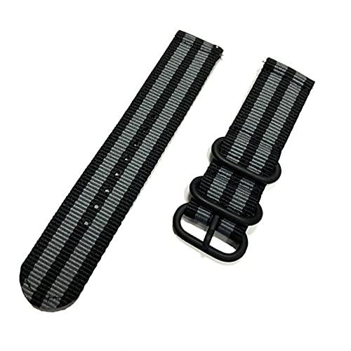 WWXFCA Correa de reloj de 20 mm y 22 mm para reloj Samsung Galaxy de 46 mm y 42 mm Active2 Active1 Gear S3 Frontier Sports nailon (Color de la correa: negro gris, ancho de la correa: 24 mm)