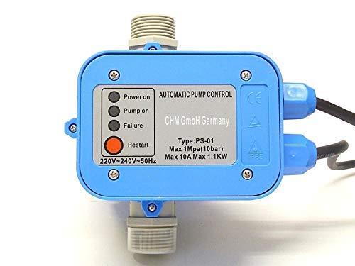 chm Pumpensteuerung PS-01 mit Stellschraube für Veränderung des Einschaltdrucks !! Schaltet die Pumpe bei Wassermangel aus (Trockenlaufschutz) + Rückschlagventil.