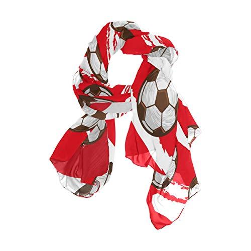 MNSRUU Schal mit Fußball-Streifen, Chiffon-Seide, lang