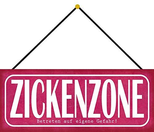 Blechschild 27x10cm gewölbt mit Kordel Zickenzone Zicke Spruch Humor Lustig Sprüche Deko Geschenk Schild