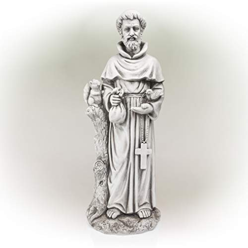 Alpine St. Francis Stone Garden Statue, Gray, 31 Inch Tall
