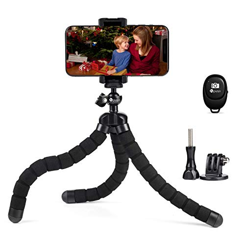 HPUSN Phone Tripod Portable and Flexible Tripod with Wireless Remote Shutter, Compatible with iPhone, Android Phone, Camera Tripod, iPhone Tripod for Live Streaming Tiktok YouTube Video Recording