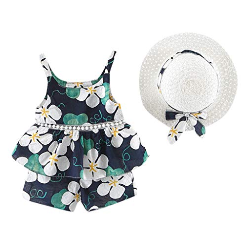 Julhol Peuter Baby Kids Meisjes Mouwloos Bloemen Fruit Strap Tops Shorts Outfits Hoed Casual Set Vrije tijd Zomer 2019