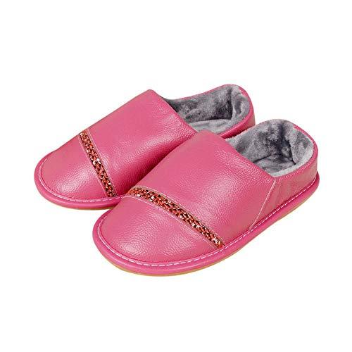 Nwarmsouth Zapatillas de Zapatos Easy Close para Hombre,Home Bag Heel Zapatos de algodón, Pantuflas Antideslizantes Calientes-Rose Red_43-44,Zapatillas de Invierno para Hombres y Mujeres