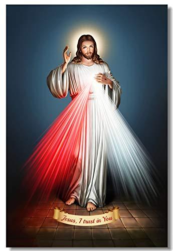 Wandmalerei Divine Mercy Of Jesus Poster Ich vertraue auf dich Wandaufkleber Jesus Christus Gott segne dich Hintergrundbild 30X45Cm