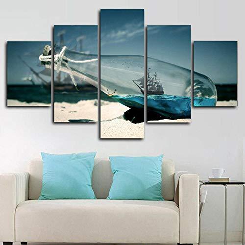 axqisqx boot in een fles schip zee poster canvasdruk muurkunst decor 5 stuks 30x40cmx2pcs 30x60cmx2pcs 30x80cmx1pcs