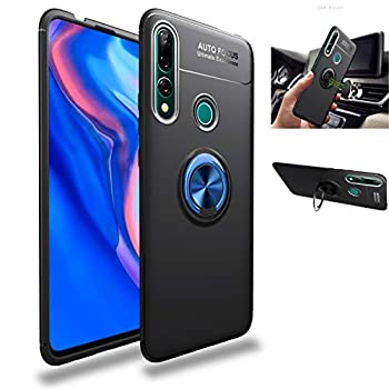 Huawei P Smart Z /Y9 Prime 2019 case,360° Rotating Ring Kickstand Protective Case,Silicone Soft TPU Shockproof Protection Thin Cover Compatible with [Magnetic Car Mount] for Huawei  Blue/black