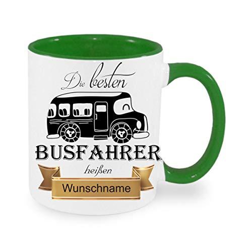 Crealuxe Tasse m. Wunschname Die besten Busfahrer heißen. Wunschname - Kaffeetasse mit Motiv, Bedruckte Tasse mit Sprüchen oder Bildern