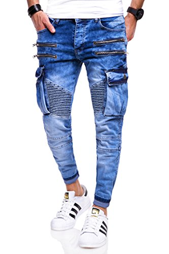 behype. Herren Jeans-Hose Biker mit Zipper & Cargo Tasche 80-3196 Blau 31