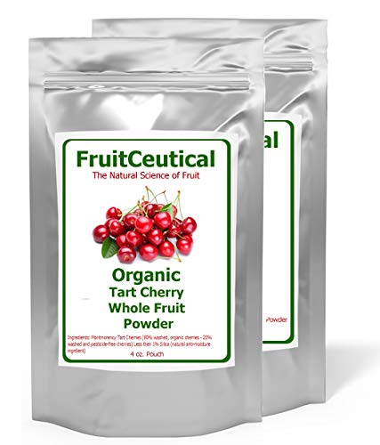 FruitCeuticals Organic Tart Cherry Whole Fruit Powder (Not an Extract) - Satisfaction Guaranteed - 2 Pouches