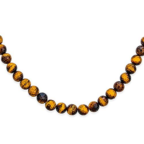 Bling Jewelry Ojo Tigre Marrón Facetado Redondo 8Mm Abalorios Collar Cuerda Mujer Y Hombre Chapado Plata Pulgadas Cierre Basculante