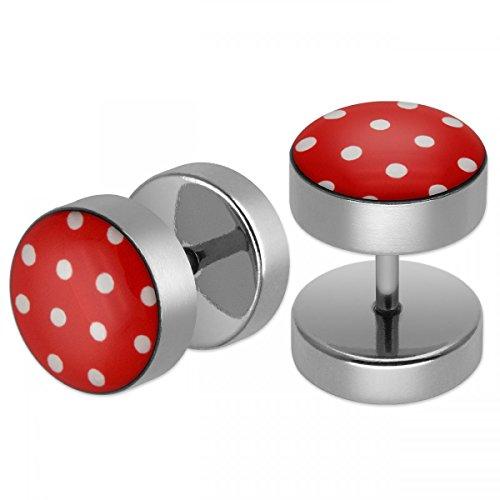 SoulCats® 2 rote Polka Dots Ohrstecker/Fake Plugs aus Edelstahl mit weißen Punkten